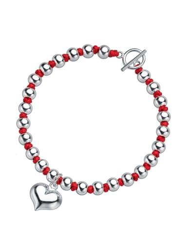 925 Sterling Silver Bead Heart Vintage Beaded Bracelet