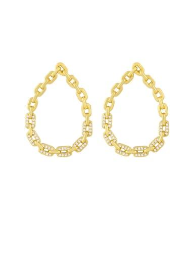 White zirconium Brass Cubic Zirconia Hollow Water Drop Hip Hop Chandelier Earring