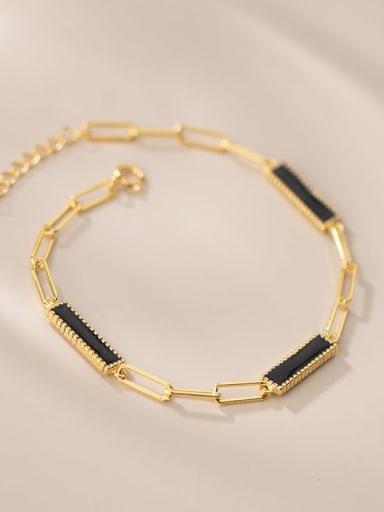 925 Sterling Silver Acrylic Geometric Minimalist Link Bracelet