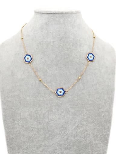 MI N190017 Stainless steel Miyuki beads Evil Eye Bohemia Pure handmade, Necklace