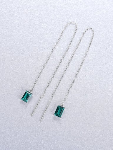 green 23C04 925 Sterling Silver Cubic Zirconia Geometric Minimalist Threader Earring
