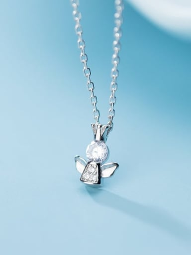 925 Sterling Silver Cubic Zirconia Angel Cute Necklace