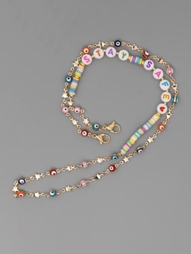 JS N200014C Stainless steel Bead Multi Color Polymer Clay Evil Eye Bohemia Hand-woven Necklace
