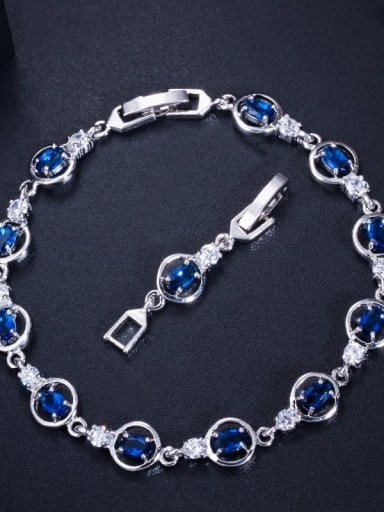 blue Copper Cubic Zirconia Geometric Dainty Bracelet