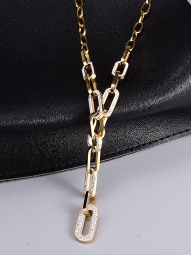 Titanium Steel Cubic Zirconia Geometric Vintage Lariat Necklace