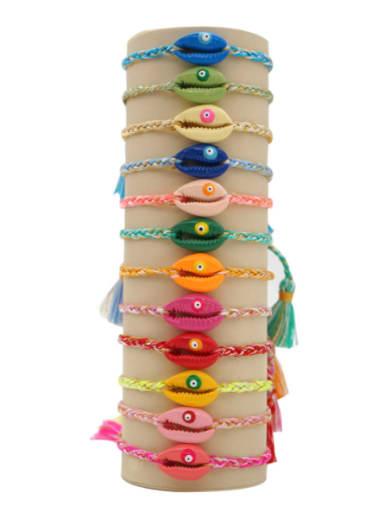 Multi Color Polymer Clay Irregular Bohemia Handmade Weave Bracelet