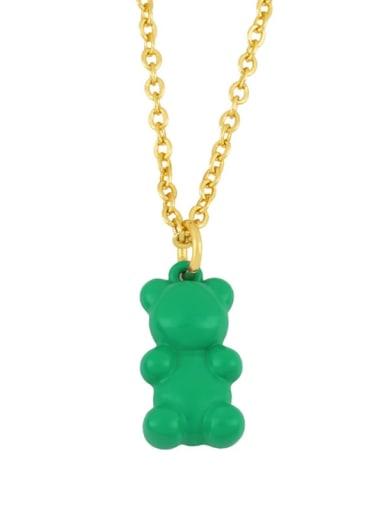 green Brass Enamel Cute Bear Pendant Necklace
