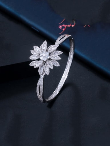 platinum Copper With  Cubic Zirconia Fashion Flower Bangles