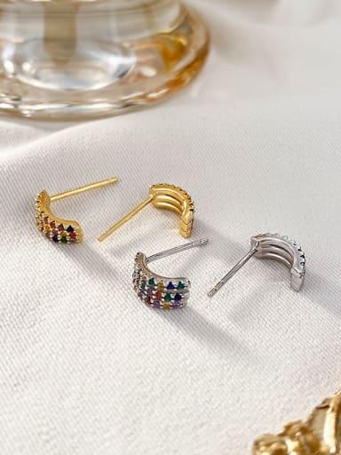 Color zircon 925 Sterling Silver Rhinestone Geometric Minimalist Stud Earring