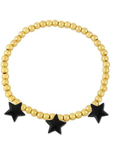 black Brass Enamel Star Vintage Beaded Bracelet