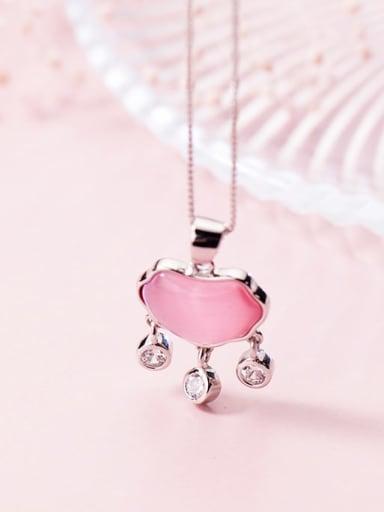 925 Sterling Silver Cats Eye Heart Minimalist pendant
