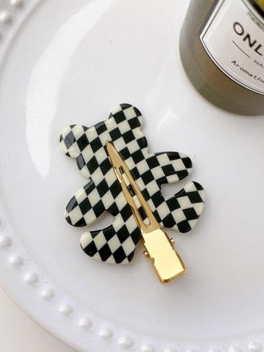 Black and white grid 5.5cm Cellulose Acetate Minimalist Bear Alloy Multi Color Hair Barrette