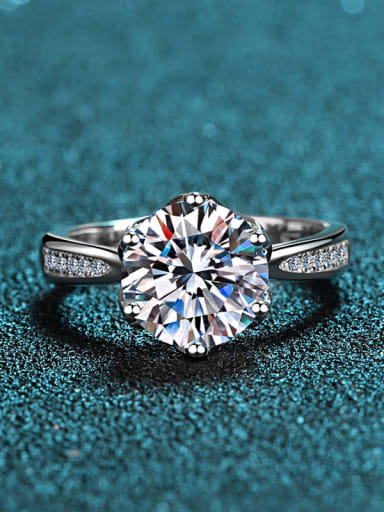 Sterling Silver Moissanite White Round Dainty Engagement Rings