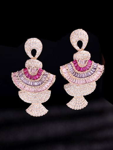 Brass Cubic Zirconia Geometric Luxury Cluster Earring