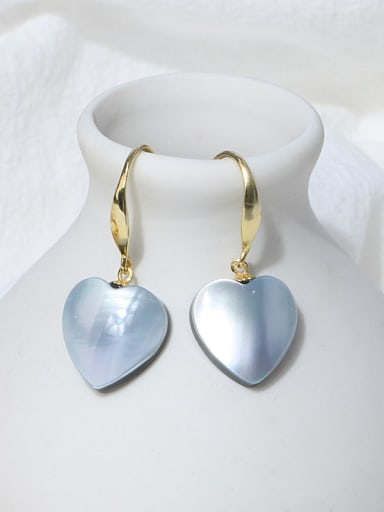 Blue earhook Brass Shell Minimalist Heart Earring and Necklace Set