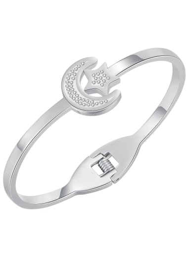 1000 Steel Bracelet Titanium Steel Rhinestone Star Minimalist Band Bangle