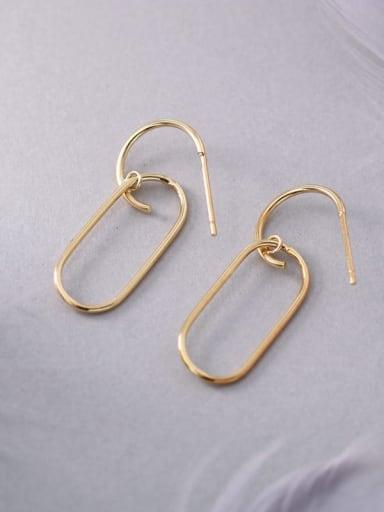Gold 925 Sterling Silver Geometric Minimalist Hook Earring