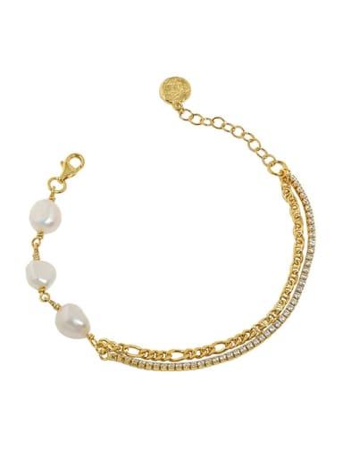 18K Gold 925 Sterling Silver Freshwater Pearl Geometric Vintage Strand Bracelet
