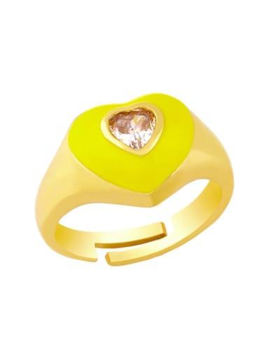 Brass Enamel Cubic Zirconia Heart Hip Hop Band Ring