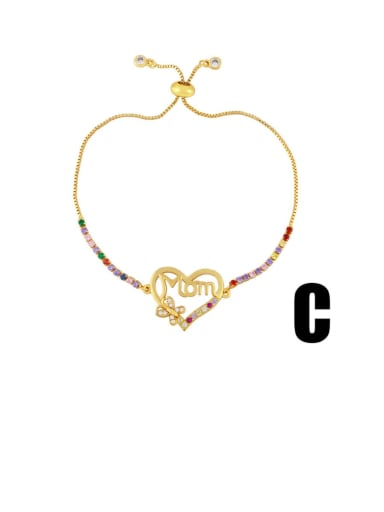 C Brass Cubic Zirconia Letter Vintage Bracelet
