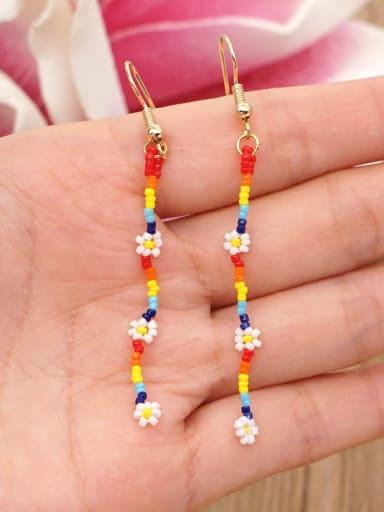 Zinc Alloy MGB Beads Multi Color Flower Bohemia  Hand-Woven Hook Earring