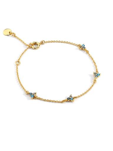 Brass Cubic Zirconia Flower Minimalist Link Bracelet