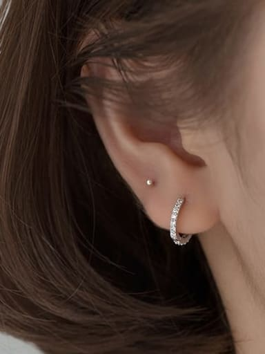 S925 silver pair silver 12mm 925 Sterling Silver Cubic Zirconia Round Minimalist Huggie Earring