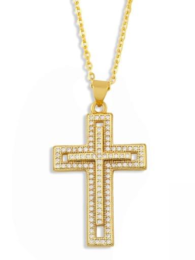 Brass Cubic Zirconia Cross Vintage Regligious Necklace