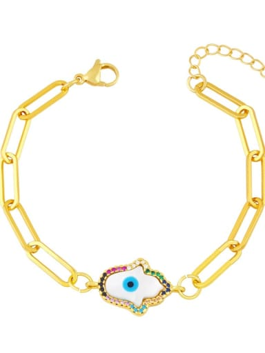 C Brass Cubic Zirconia Enamel Evil Eye Vintage Link Bracelet