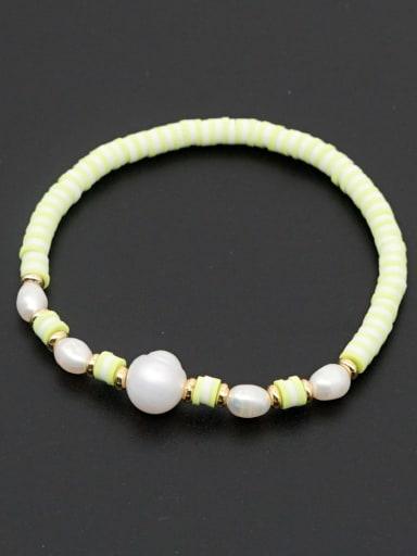 ZZ B200056B Freshwater Pearl Multi Color Polymer Clay Round Bohemia Stretch Bracelet