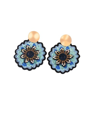 B Alloy Rhinestone Flower Ethnic Drop Earring