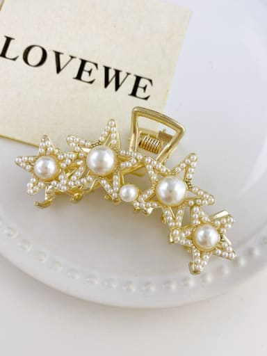 Alloy Imitation Pearl  Trend  Five-pointed star Jaw Hair Claw