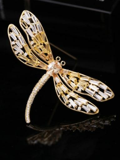 Golden+ yellow Brass Cubic Zirconia Dragonfly Trend Brooch