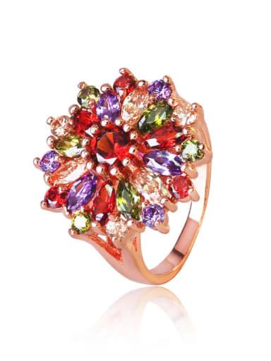 Brass Cubic Zirconia Flower Luxury Band Ring