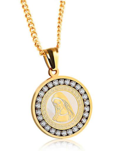 Titanium Rhinestone Round Vintage Regligious Necklace