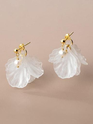 925 Sterling Silver Acrylic Flower Minimalist Drop Earring