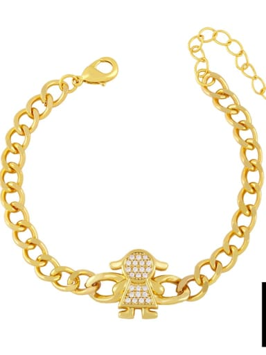 B Brass Cubic Zirconia Star Trend Hollow Chain Bracelet