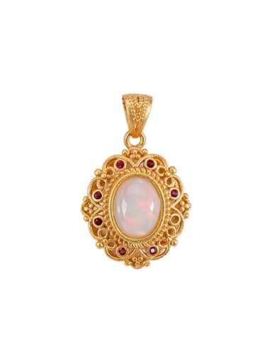 925 Sterling Silver Opal Vintage Oval  Pendant