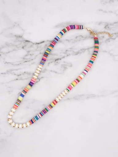 QT N200018D Stainless steel Multi Color Polymer Clay Bohemia Weave  Necklace