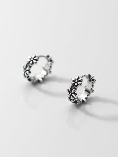 925 Sterling Silver Flower Vintage Huggie Earring