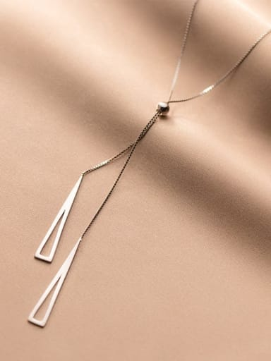 925 Sterling Silver Triangle Minimalist Lariat Necklace