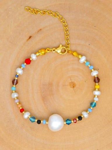 ZZ B200020B Stainless steel Freshwater Pearl Multi Color Round Bohemia Bracelet