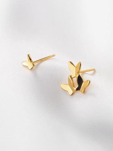 925 Sterling Silver Asymmetry Butterfly Minimalist Stud Earring
