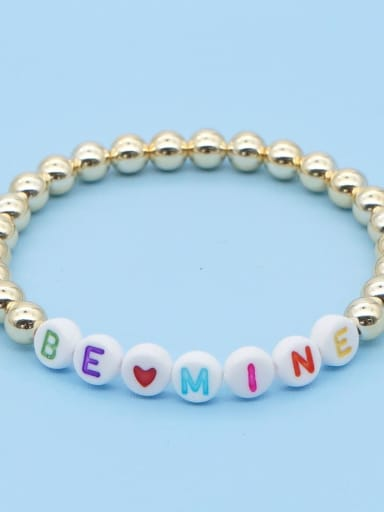 QT B200204D Stainless steel Bead Multi Color Letter Bohemia Stretch Bracelet