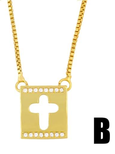 cross Copper Rhinestone Heart Minimalist  Cross Pendant Necklace