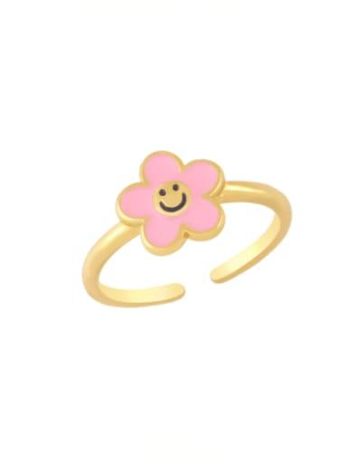Pink Brass Enamel Smiley Minimalist Band Ring
