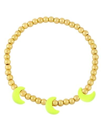 yellow Brass Enamel Moon Minimalist Beaded Bracelet