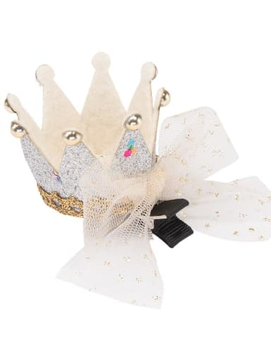 4  crown white mesh bow hairpin Alloy  Leather Cute CrownMulti Color Hair Barrette