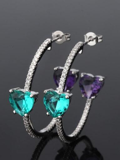 Caibo platinum Brass Cubic Zirconia Heart Bohemia Hoop Earring