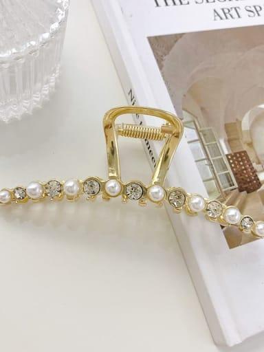 Slotted Pearl Rhinestone 11.3cm Alloy Imitation Pearl Minimalist Flower  Jaw Hair Claw